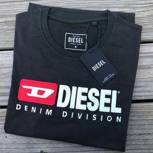 Diesel Denim Division Men T Shirt Black Cotton Tee
